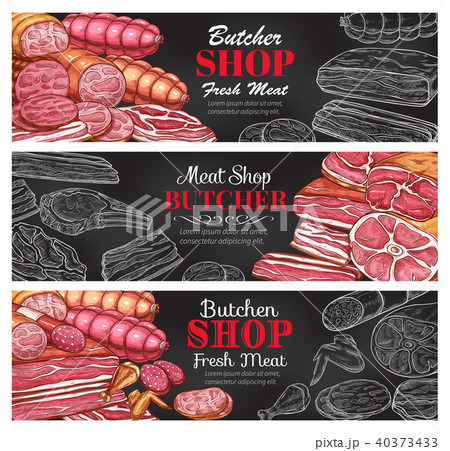Butcher shop vector sketch fresh meat banners 40373433