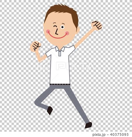 短髪のポップなビジネスマン クールビズ 白いポロシャツ ガッツポーズジャンプ 40375093