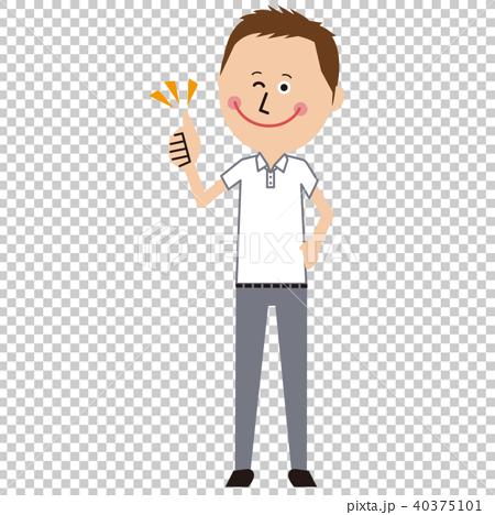 短髪のポップなビジネスマン クールビズ 白いポロシャツ いいね 40375101