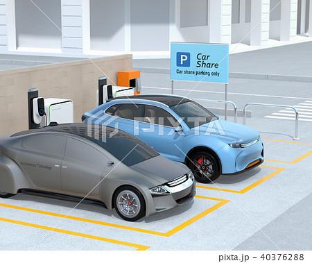 カーシェアリング専用駐車場に充電している電気自動車のイメージ 40376288