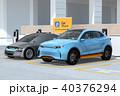 自動車 駐車場 カーシェアリングのイラスト 40376294