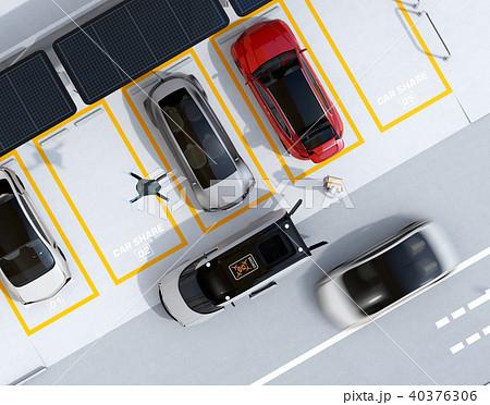 配達中の宅配車の天井から飛び立つ配達ドローンの鳥瞰イメージ。ラストワンマイルコンセプト 40376306