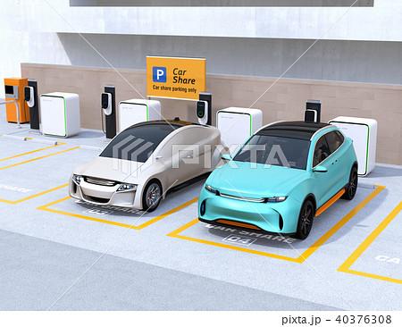 カーシェアリング専用駐車場に充電している電気自動車のイメージ 40376308