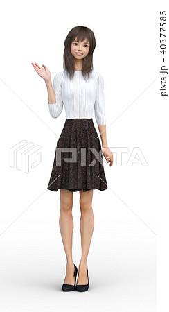 ロングヘアの若い女性 perming3DCGイラスト素材 40377586