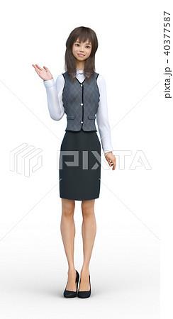 ロングヘアの若い女性 perming3DCGイラスト素材 40377587