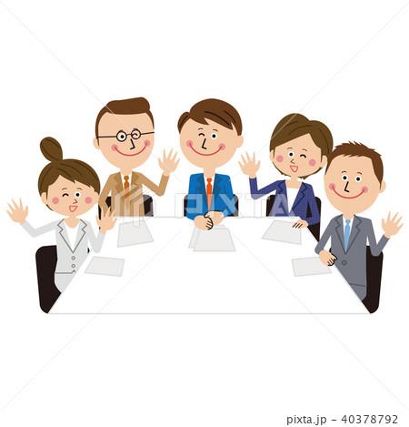 ポップなビジネスマンとビジネスウーマンの会議 若者 ハーイ 40378792