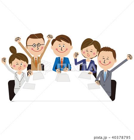ポップなビジネスマンとビジネスウーマンの会議 若者 ガッツポーズ 40378795