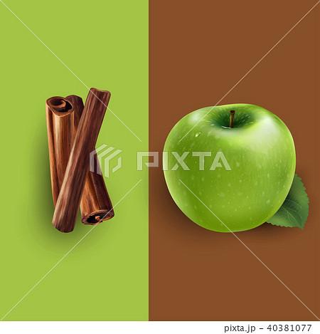 Cinnamon and green apple. Vector illustration 40381077