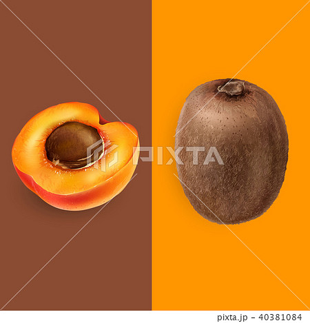 Apricot and kiwi. Vector illustration 40381084