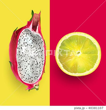 dragon fruit and lemon vector illustrationのイラスト素材 40381107