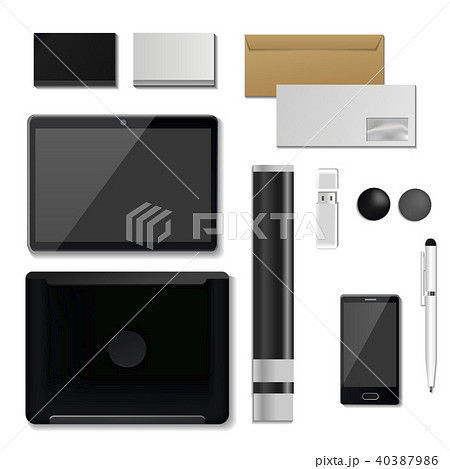 Corporate identity mock-up vector premium template set business office stationery realistic 3d 40387986