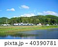 大糸線 ローカル線 田んぼの写真 40390781