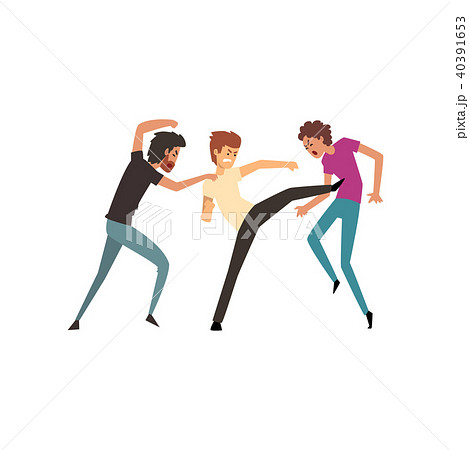 Men fighting and quarrelling, aggressive and violent behavior vector Illustration on a white 40391653