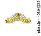 Vector icon of beautiful princess tiara decorated with blue and green gemstones. Shiny golden crown 40394322
