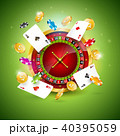 Vector illustration on a casino theme with roulette wheel, poker cards and playing chips on green 40395059