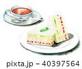 水彩で描いたフルーツサンドと紅茶 40397564