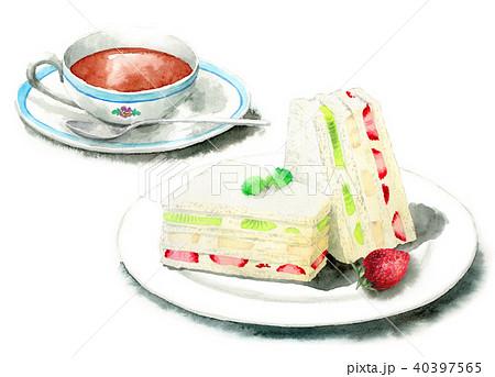 水彩で描いたフルーツサンドと紅茶 40397565