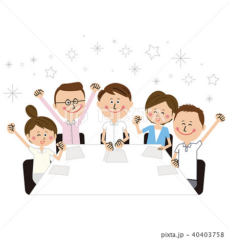 ポップなビジネスマンとビジネスウーマンの会議 若者 ガッツポーズ クールビズ 40403758