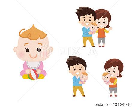 女の子の赤ちゃんとパパとママ 40404946