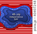Invitation for Fourth of July Independence Day of the USA. Cut Paper Style 40407248
