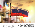 Russia Flag Against City Blurred Background 40407653