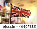 United Kingdom Flag Against City Blurred 40407835