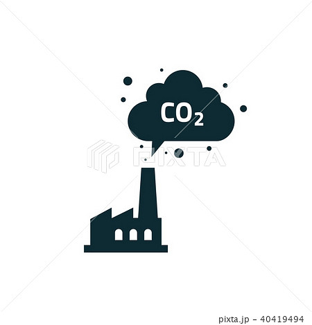 Factory plant silhouette chimney polluting CO2 emissions cloud smoke vector 40419494