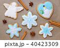 homemade christmas cookie like snowflake and angel with cinnamon and anise, top view 40423309