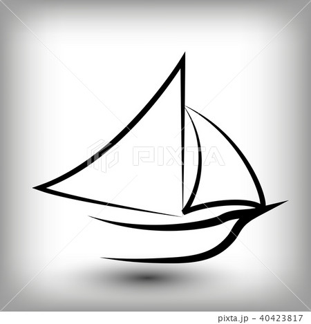 yacht logo templates sail boat silhouettes のイラスト素材 40423817