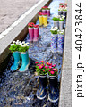 Rubber boots in the water with flowers in the city of Freiburg. Tourist attraction. 40423844