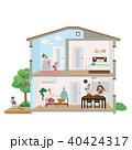 二世帯住宅 家 断面図 イラスト 40424317