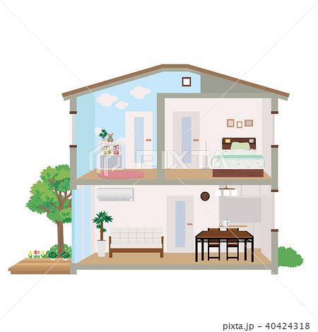 住宅 家 断面図 イラスト 40424318