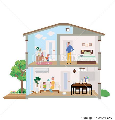 スマート家電 住宅 家 断面図 イラスト 40424325