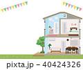 一軒家 断面図 断面のイラスト 40424326