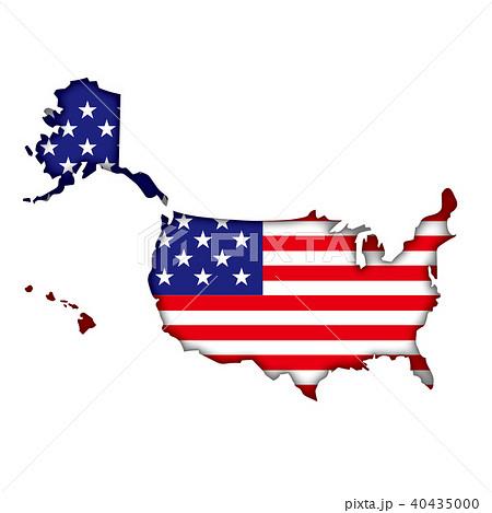 半立体レリーフ状の国旗と地図のイラストアメリカの地図 星条旗