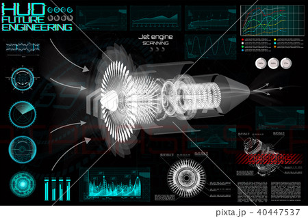 Jet engine of airplane in HUD style.  Set elements 40447537