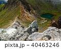 焼岳北峰から見る噴気孔と火口湖 40463246