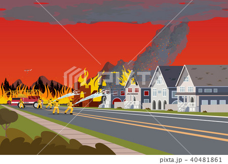 Firefighters Extinguish Town. Concept Forest Fire. 40481861