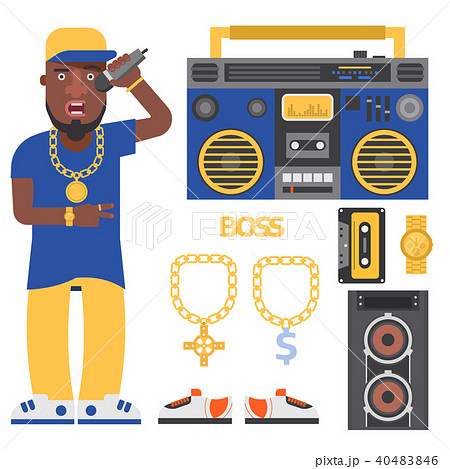 Hip hop man accessory musician vector accessories microphone breakdance expressive rap modern young 40483846