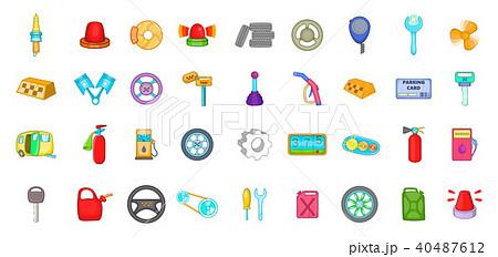 Car parts icon set, cartoon style 40487612