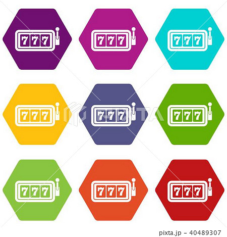 Lucky seven on slot machine icon set color hexahedron 40489307
