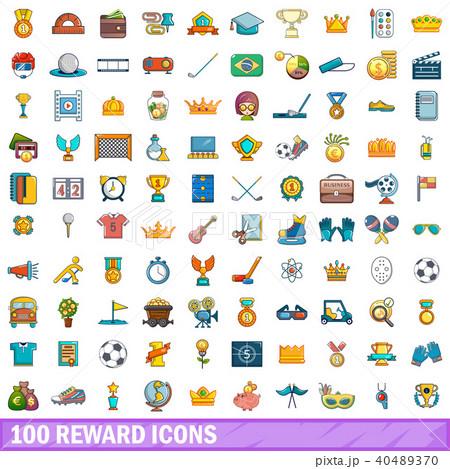 100 reward icons set, cartoon style 40489370