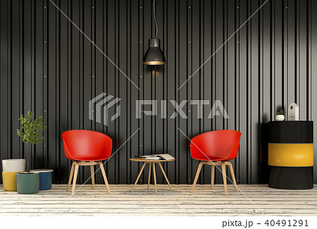 Interior living room  metal sheet wall. 3d render 40491291