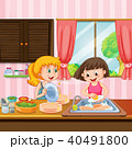Sister Cleaning Dishes in Kitchen 40491800