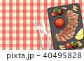 お皿 皿 ステーキ肉のイラスト 40495828