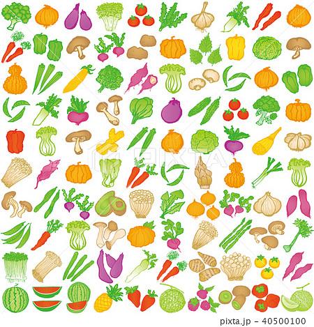 野菜 手書きアイコン 100種類のイラスト素材 40500100 Pixta