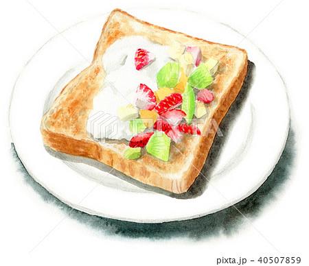 水彩で描いたフルーツとクリームを乗せたトースト 40507859