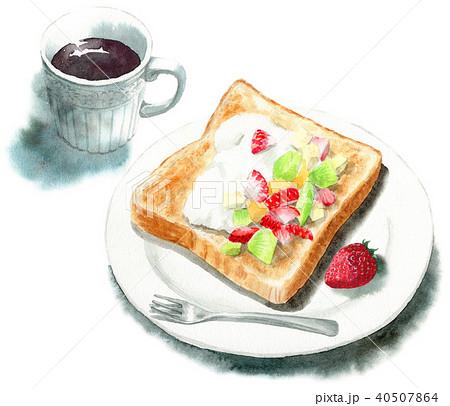水彩で描いたフルーツとクリームを乗せたトーストとコーヒー 40507864
