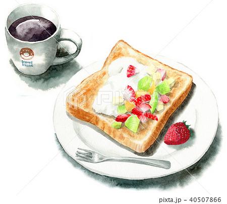 水彩で描いたフルーツとクリームを乗せたトーストとコーヒー 40507866