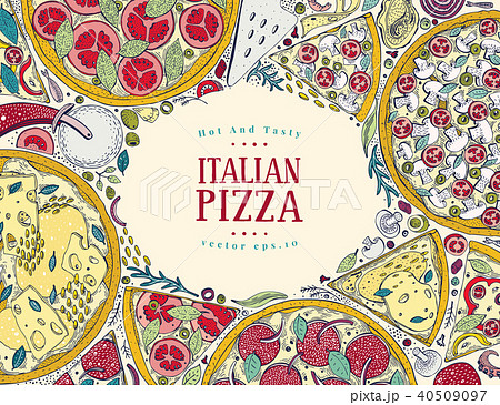 vector italian pizza top view colorful frame a set of classic
